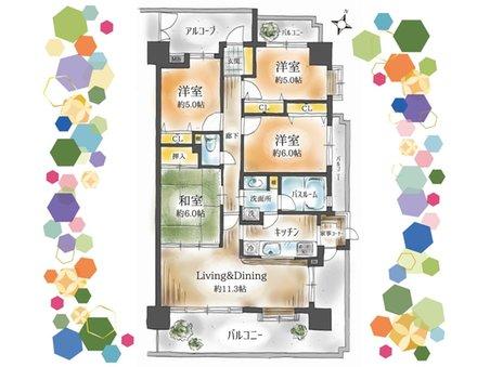 11階角部屋 ワイドバルコニー付 ガーデンヒルズ三河安城