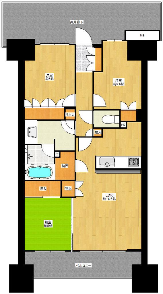 空室ですのでいつでも内覧出来ます。ザ・パークハウス青砥 12階