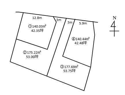 大津市音羽台全4区画2号地 建築条件なし